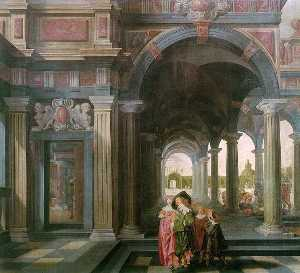 Palace Courtyard with Figures
