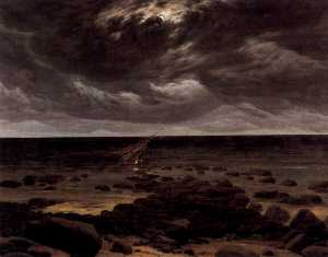 Seashore with Shipwreck by Moonlight
