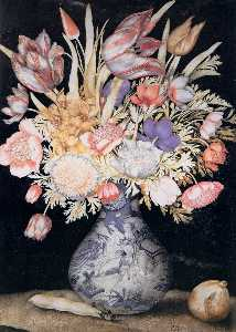 Chinese Vase with Flowers, a Fig, and a Bean