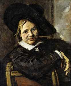 porträt von einem mann an  Ein  krumm dasitzen  hut