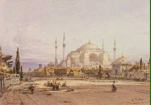 View of the Hagia Sophia in Constantinople