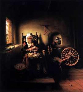Old Woman Peeling Apples