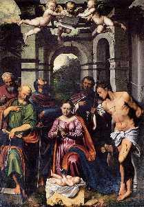 die anbetung von der  christus  Kind  mit  die heiligen