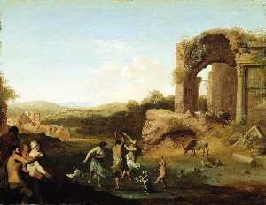 Figures Dancing near Ruin