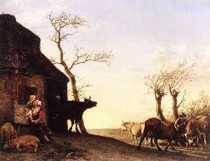 au volant au  bétail  à  pature  dans  au  matinale