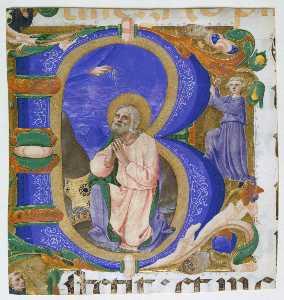 Initial B with David in Prayer