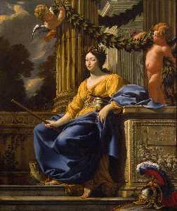 寓言 肖像  的  安娜  的  奥地利  作为  密涅瓦