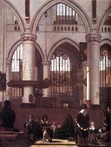 The Interior of the Oude Kerk, Amsterdam, during a Sermon