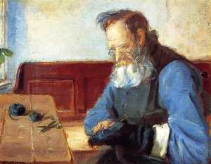 A Man Mending Socks