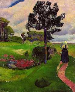 Mother and Child on a Breton Landscape