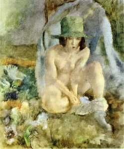 nue avec une  Vert  chapeau
