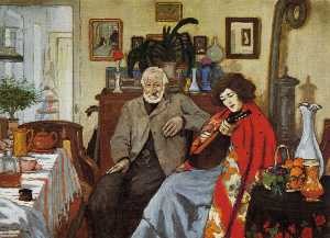 The old man and a woman playing the mandolin