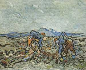 Peasants Digging up Potatoes