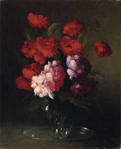 Peonies and Poppies in a Glass Vase