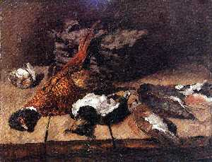 Pheasant, small birds and basket