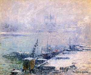 The Pont Henri IV - Notre Dame de Paris in the Snow
