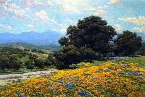 Poppy Field with Oaks and Lupines (also known as A Foothill Trail)