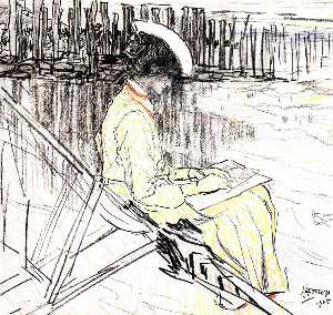 Portrait of Emma Bellwidt on the Beach at Domburg
