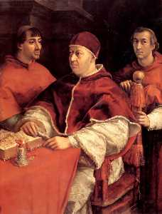 Portrait of Pope Leo X and Two Cardinals