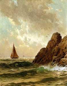 Sailboats off a Rocky Shore
