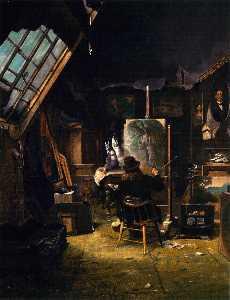 Samuel Marsden Brookes Painting in His Studio