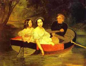 Self-portrait with Baroness Ye. N. Meller-Zakomelskaya and a Girl in a Boat. (Unfinished)