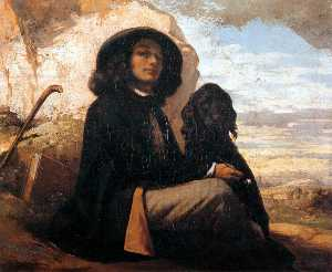 Self-Portrait with a Black Dog