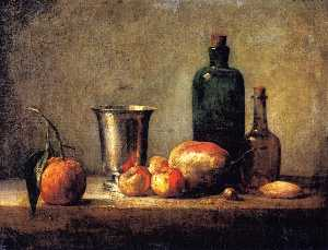 Seville Orange, Silver Goblet, Apples, Pear and Two Bottles