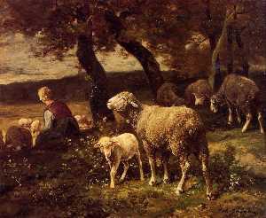 Pastora y ovejas
