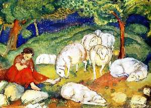Shepherdess with Sheep
