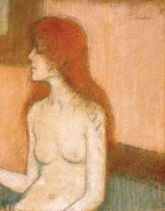Sitting Nude with Red Hair