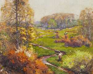 Spring Landscape with Meandering Stream and Cows