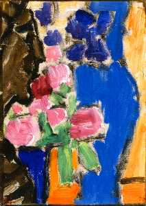 Still LIfe: Flower Still LIfe with Vase and Figure, Semi-Profile