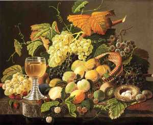 Still Life with Fruit, Bird's Nest and Wine Glass