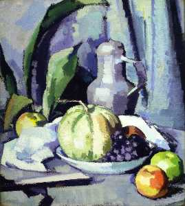 Still Life with Jug, Melon, Grapes and Apples