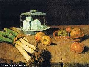 Still Life with leeks bunch, apples and cheese