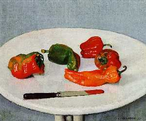 Still Life with Red Peppers on a White Lacquered Table
