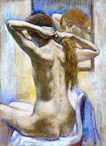 étude de nu ( également connu sous le nom à l arrière : wiman en miroir )