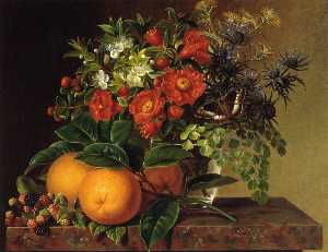 Thistle, Echinops, Myrtle in a Glass Vase with Oranges, Blackberries and a Butterfly no a Brown Marble Ledge