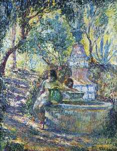 Two girls at a fountain in Saint Tropez