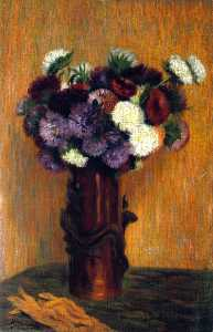 Vase of Flowers and Gloves