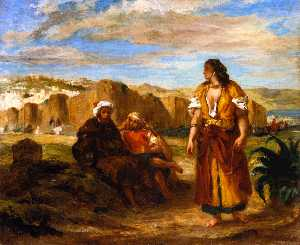 View of Tangier with Two Seated Arabs