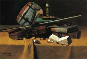 Violin, Fan and Books