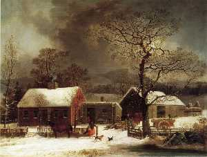 Winter Scene in New Haven, Connecticut