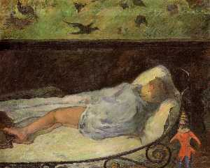 Young Girl Dreaming (also known as Study of a Child Asleep, the Painter's Daughter, line, rue Carcel)