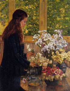 Young Girl with a Vase of Flowers