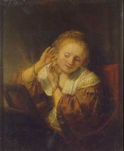 Young Woman at a Mirror (also known as Young Woman with Earrings)