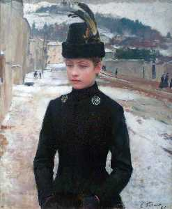 Young Woman of Nancy in a Winter Landscape