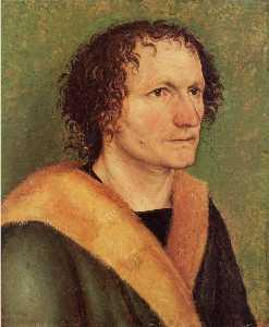Male portrait before green base