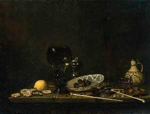 Still-life With Romer, Flute Glass, Earthenware Jug And Pipes